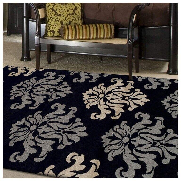 Superior Casper Damask Floral Design Black Background 4'x 6'