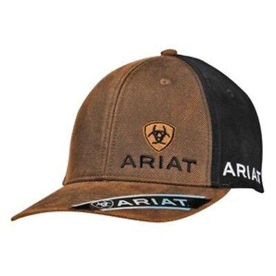 Ariat Mens Western Hat Baseball Cap Snap Back Logo Black Brown  1501502