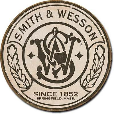 "Smith & Wesson Since 1852 Firearms Rustic Nostalgic 12"" Round Tin Metal Sign"