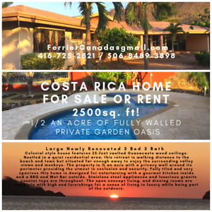 Costa Rican Home For SALE or for RENT
