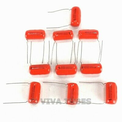 Vintage Lot Of 10 Sprague 10ps-p10 Orange Drop Capacitors 0.1 Uf 1kvdc