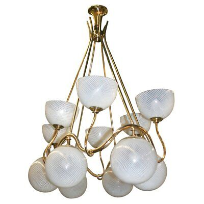 Large Venini twelve-light chandelier made in 1940  - Large Twelve Light