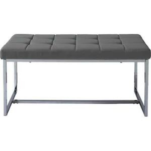 Corliving LDF-262-O Huntington Modern Grey Leatherette Bench with Chrome Base (New other)