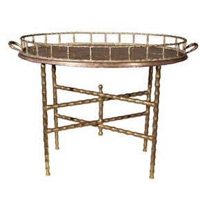 mid century faux bamboo brass tray on stand - 2 available