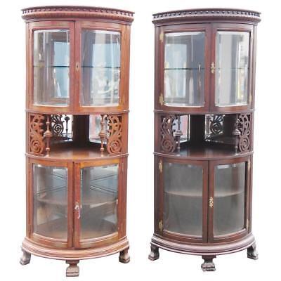 Rare Companion Pair of Oak Carved Corner Cabinets for sale  Swedesboro