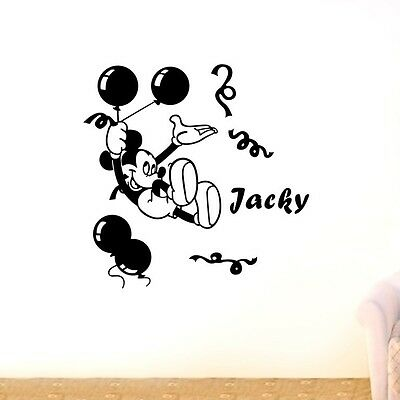 Custom Personalised Name Mickey Mouse Home Wall Art Stickers Kid Decor Mural DIY