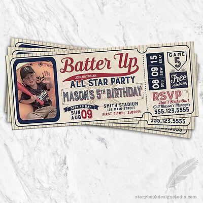 Baseball Ticket Birthday Party Invitations / Printed Set of 10 Bat Ball