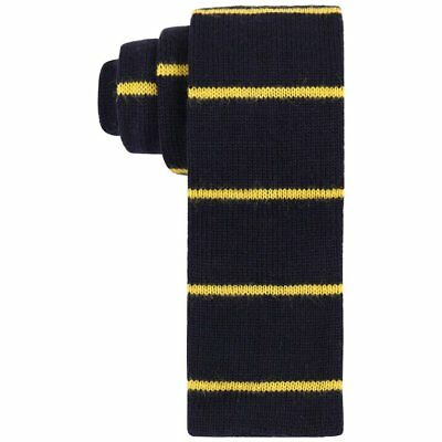 GUCCI c.1980's Navy Blue & Yellow Striped Wool Knit Necktie Tie NOS