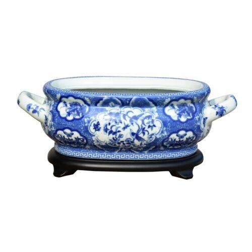 Unique Blue & White Porcelain Foot Bath Basin Chinese Bird Motif