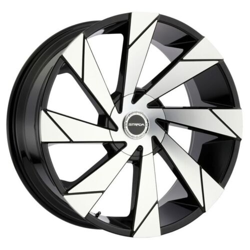 26 Inch Strada Moto Black M. Wheels Rims & Tires Fit 6 X 139.7 Escalade, Tahoe