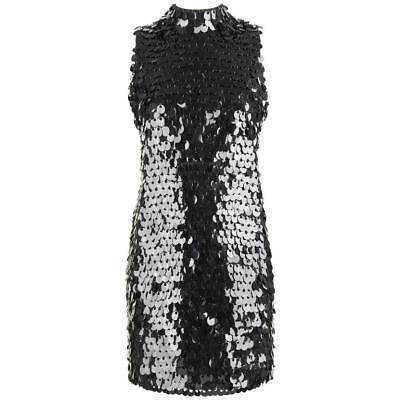 PIERRE BALMAIN c.1960's Black Paillette Hanging Knit Shift Cocktail Go Go Dress