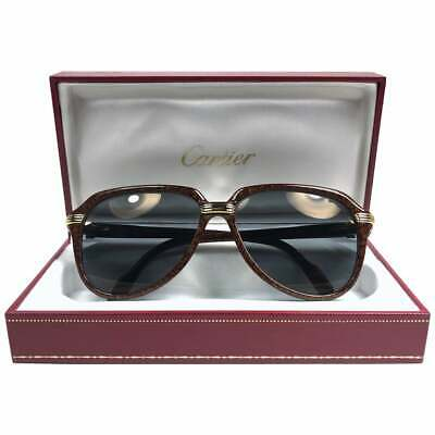NEW VINTAGE CARTIER VITESSE LARGEST SIZE JASPED BROWN 60MM SUNGLASSES FRANCE (Largest Sunglasses Size)