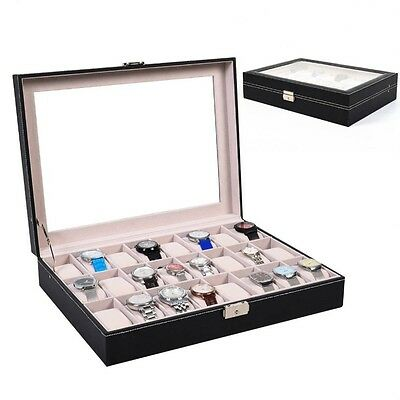24 Grid Slots Watch Jewelry Display Case Organizer Gift Box Storage PU leather