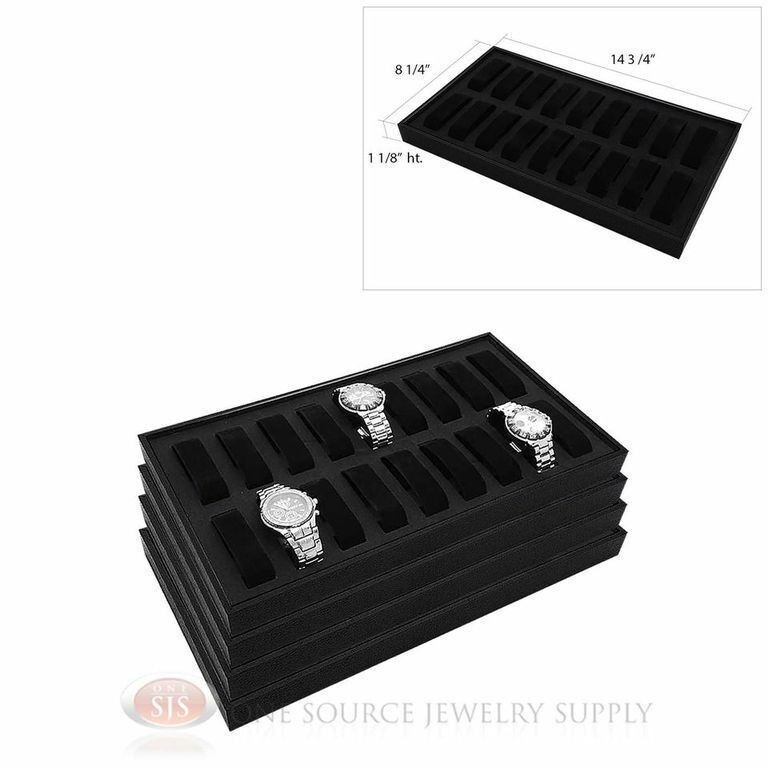 (4) Black Wooden Display Storage Watch Trays  w/ 18 Removable Holders