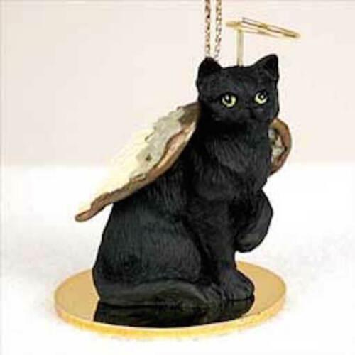 Black Shorthaired Tabby Cat ANGEL Ornament