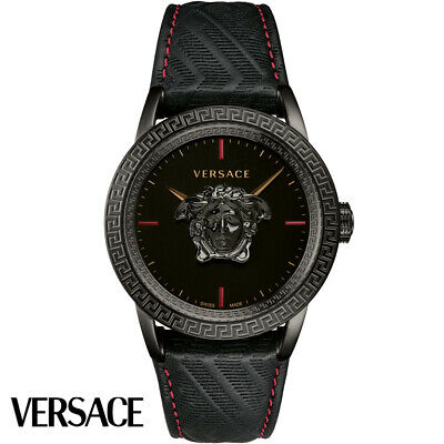 Versace VERD00218 Palazzo Empire black Leather Men's Watch NEW