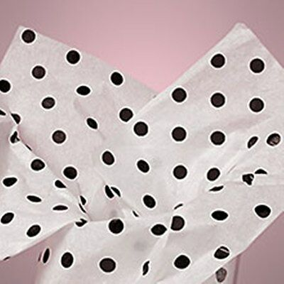 15 SHEETS~BLACK POLKA DOT TISSUE PAPER~GIFT WRAP-CRAFT~15~20