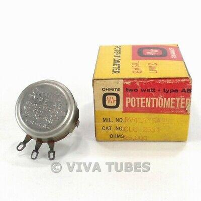 Nos Nib Vintage Ohmite Clu-2531 Type Ab Potentiometer 2w 25k Ohm