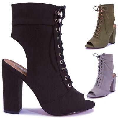 Halloween Toes Designs (Branded Ladies Womens Vegan Suede Block Heels Open Toe Ankle Heel Boots Size)