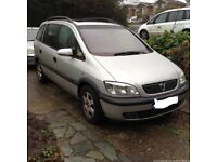 2002 7 seater vauxhall zafira 2.0 dti diesel with 12 months mot and towbar taxed DRIVEAWAY/DELIVERY
