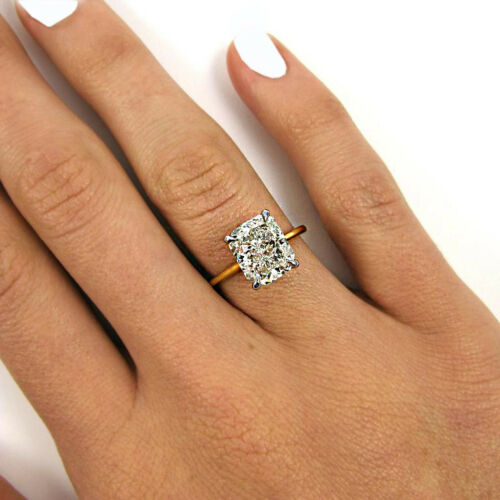 Vintage Inspired Solitaire Diamond Engagement Ring GIA Certified 3.00 ctw. Cu...