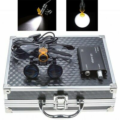 Dental 3.5x Binocular Loupes 5w Led Head Light W Filter Aluminum Box Black