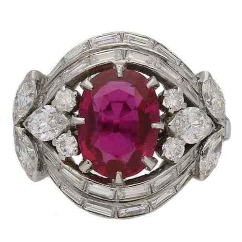 Open Back Claw Settings Pink Ruby With Multi Shape CZ 5.15TCW Cluster Women Ring