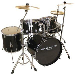 Groovemaster Black Ebony 10 piece Drumset -like NEW