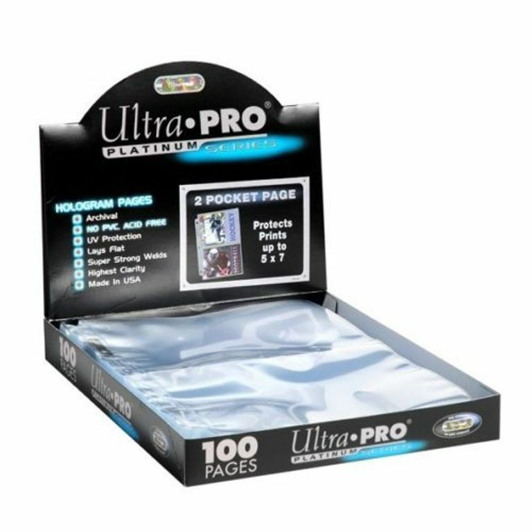 400 Ultra Pro Platinum Hologram 2-Pocket Page for 5x7 Photos / Postcards