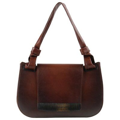 8e1223c84d1b4f GUCCI Brown Leather Carved Bamboo Wood Flap Top Shoulder Bag Purse
