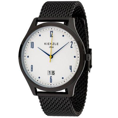 KIENZLE Herren Armbanduhr mit Großdatum, Edelstahl Milanaisearmband, 5 Bar Großes Armband