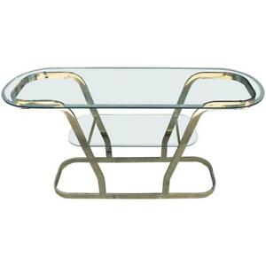 Hollywood Regency Mid Century Modern Glass / Metal Console Table