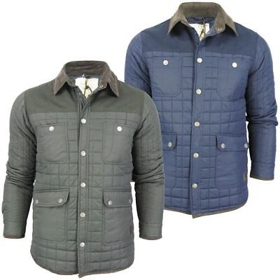 Box Quilted Coat (Mens Brave Soul 'Collins' Box Quilted Padded Jacket/ Coat Cord Collar)