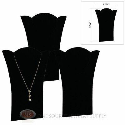 3 Black Velvet 5 12 Padded Pendant Necklace Display Easel Presentation