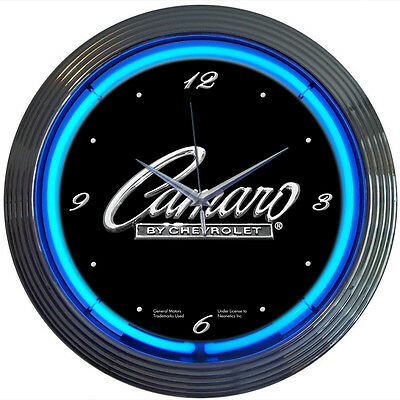 Camaro Neon Clock sign Chevrolet Chevy Muscle car Mancave Brand new Blue neon