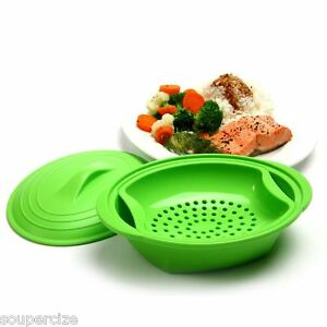 New Norpro 32 Oz Silicone Microwave Oven Steamer 3 Pc Lid