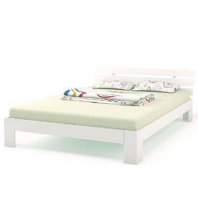 Doppelbett 140x200 Holz Kiefer Bett Bettgestellt mit Lattenrost & Matratze H3