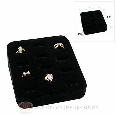 Ring Tray Black Velvet 12 Slot Jewelry Display Showcase Display
