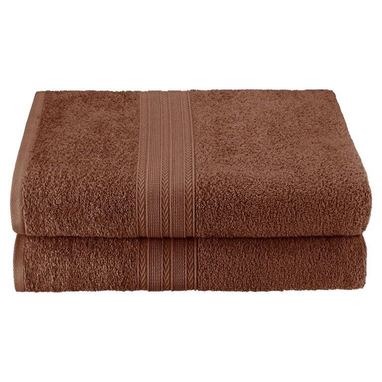 Set of 2 Brown Ring Spun Combed Cotton Soft and Absorbent Ba