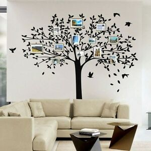 Large family tree birds wall sticker vinyl art home decals for Diy family tree wall mural