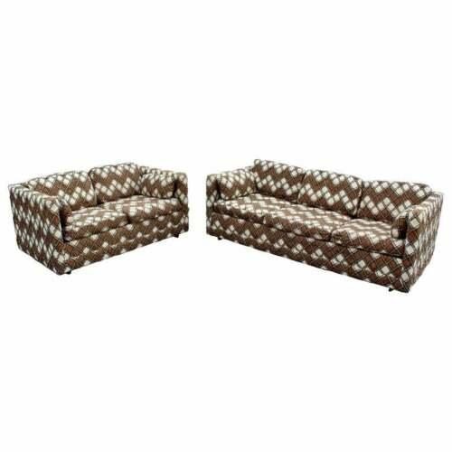 Mid Century Modern Pair Milo Baughman Larsen Style Sofa & Loveseat 1970s