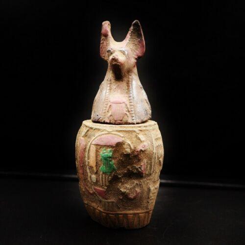 Antique Egyptian Ancient Duamatef Son of Horus Canopic Jar,Organs Storage Statue