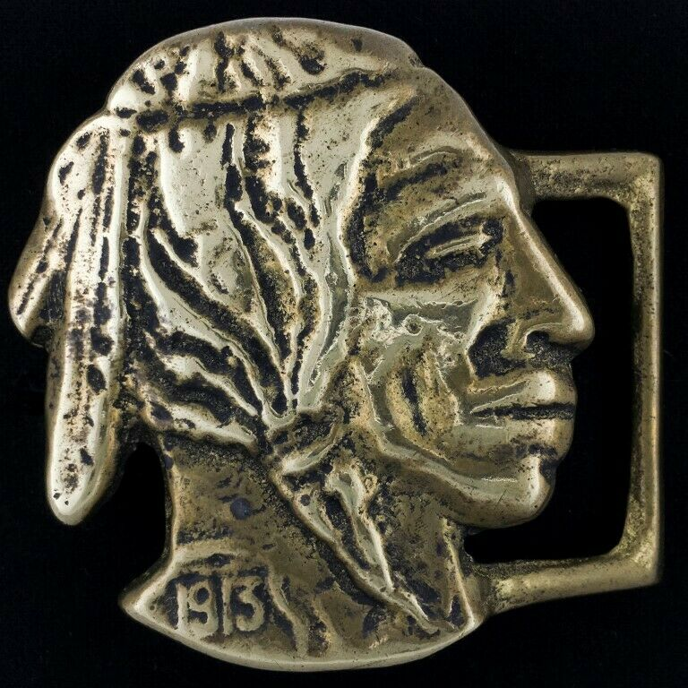 Vintage 1913 Buffalo Indian Head Nickel Native American Chief Brass Belt Buckle