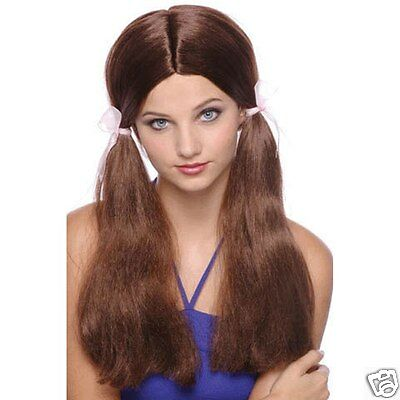 Brown Long Pig Tails With Ribbons  Wig Lady Party Dress up Halloween Costume](Halloween Costumes With Pigtails)