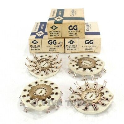 Nos Nib Vintage Lot Of 4 Centralab Ceramic Rotary Switch Wafers 1 Pol 10 Pos