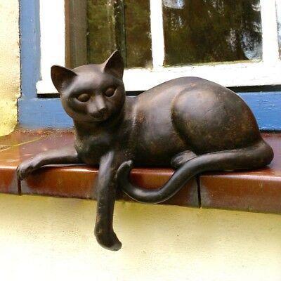 Skulptur Katze, lebendige Tierfiguren, liegendes Kätzchen für Fensterbank Deko