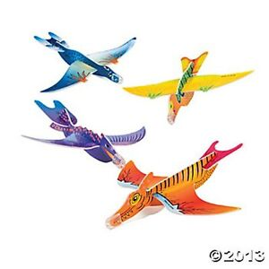 12 Foam DINOSAUR GLIDER AIRPLANES Kids Birthday Party Favors T-Rex