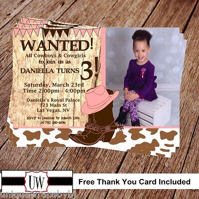 Cowgirl Party Invitations (Printable Photo Cowgirl Birthday Invitation, Wanted party supplies DIY)