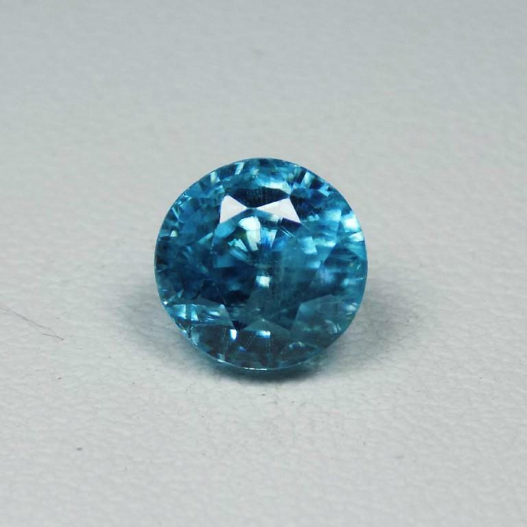 3.28Cts 100% NATURAL Blue Color Zircon Round Cut Loose Gemstone From Cambodia