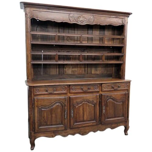 Rare Solid Walnut 1780s Era French Louis XVI Country French Welsh Cupboard